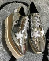 Wholesale net wedge - wholesale Stella Mccartney women Shoes platform White Genuine Leather Upper Weaving Nets White Sole Stars Shoes
