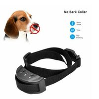 Wholesale Remote Anti Bark Shock Collar - New Anti No Bark Shock Dog Trainer Stop Barking Pet Training Control Collar Automatic Remote Control Adjustable Trainer Collar CCA7062 60pcs