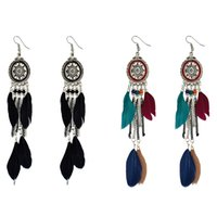 Wholesale Long Chain Colorful Earrings - idealway Vintage Retro Boho Ethnic Style Silver Plated Alloy Chain Tassel Dangle Black Colorful Feather Fringe Drop Long Earrings
