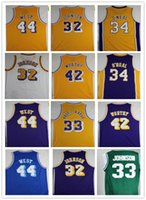 Wholesale E14 44 - Men's Throwback 33 Kareem Abdul Jabbar 32 Magic Johnson 42 Artest Worthy 44 Jerry West 34 Shaquille O'Neal Jerseys Size S-XXL
