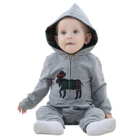 Wholesale Cute Maternity Clothing - IDGIRL Hooded gray cute animal baby jumpsuit baby romper Kids new arrival baby rompers Clothing Maternity
