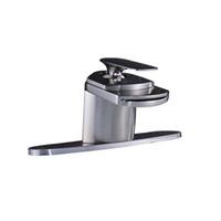 escova de vaidade venda por atacado-Torneira escovada do misturador da vaidade do torneira da bacia do banheiro da cachoeira do níquel com 10