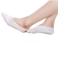 zapatillas de dedo al por mayor-Al por mayor-Moodeosa 2016 Nueva Llegada 5 colores Moda verano Five Sock Calcetines Invisibilidad Calcetines de Color Sólido Calcetines de Cinco Dedos