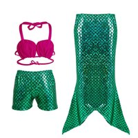 Wholesale Cute Girls Bathing Suits - Cartoon Mermaid Girls Swimsuits Cute Three Piece Kids Swimwear Solid Girls Pants Bathing Suits for Children