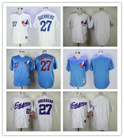 a0fd2f494e4 Baseball Men Short Montreal Expos Jersey 27 Vladimir Guerrero Jersey White  Pinstrips Bule Cool Stitched Throwback
