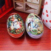 mini tea tin box Canada - 100pcs lot Zakka Mini Tin Box Easter Egg Shaped Mixed Pattern Wedding Tea Candy Boxes Souvenir Children Gift Free Shipping