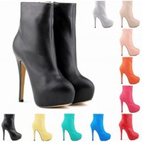 Wholesale Yellow Sexy Boots - 10 Colors Fashion Women Sexy High Heels Boots Pu Leather Round Toe Autumn Winter Platform Shoes Stiletto Size 4 - 11 D0024