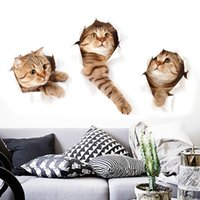 Wholesale Pet Cat Toilet - Wholesale-1pcs fashion 3D simulation cute cat sticker child bedroom living room Pet shop refrigerator Decorating Sticker Decor Cartoon 2017