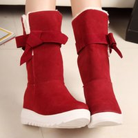 Wholesale Ladies Fashion Boots Wholesale - Wholesale- New British Style Winter Snow Boots Women Fashion Warm Bowtie Ankle Boots Casual Cotton Padded Lady Shoes Lace Up Famale Shoes