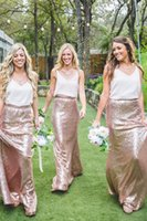 Wholesale Dress Roses Bottom - Rose Gold Skirt Cheap Country Bridesmaid Dresses Long Just Bottom Custom Made Plus Size Maid of Honor Gowns For Wedding