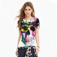 ingrosso collant t-shirt ragazze-All'ingrosso - Poliestere Spandex Color Graffiti Skull T-Shirt Fitness da donna T-Shirt da allenamento per ragazza