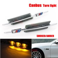 Wholesale For BMW E81 E82 E87 E88 E90 E91 E92 E60 E61 Auto LED steering Fender Side Lamp Car LED Side Marker Turn signal Light With M logo