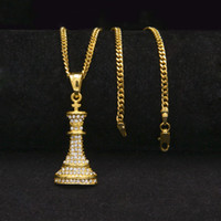 Wholesale Chess Necklace - New Steel 18k Gold Filled Hiphop Cuban Chain Mens Crystal Chess Pendant Necklace Iced Out Bling Bling Hip Hop Men Jewelry Pendants Necklaces
