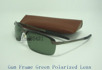 Wholesale Gun Case Green - 1Pcs Mens Designer Sunglasses Sports Polarized Sun Glasses Eyewear Gun Green With Brown Case