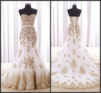 Wholesale Cheap Golden Satin - Chaple Train Elegant Wedding Gowns Golden Appliques Lace Wear Long Dress Sweetheart Neck Lace Up Back Cheap Price High Quality Vintage
