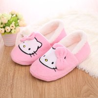 Wholesale Cartoon Slippers - Wholesale-Home Slippers Women Winter Cartoon Hello Kitty Plush Fur Chinelo Feminino Zapatillas Casa Thickened Animal Woman Shoes Sales