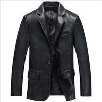 mavi deri giysi toptan satış-Moda PU Deri Blazer Ceket Erkek Ceket Rahat Iş Takım Elbise Ceket Siyah Mavi Blazer Marka Giyim