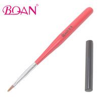 Wholesale nail art flat brush - Wholesale- BQAN Wooden Hanldle One Stroke Nail Brush Nail Art Painting Pen Mini Flat UV Gel Brush Free Shipping