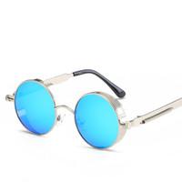 Wholesale mens circle sunglasses - Gothic Steampunk Mens Sunglasses Coating Mirrored Sunglasses Round Circle Sun glasses Retro Polarizer Vintage Gafas Masculino Sol