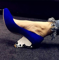Wholesale Ladies Royal Blue Wedding Shoes - Strange Heel Fuchsia Red Royal Blue Suede Leather Women Pumps Wedding Dress Shoes Butterfly High Heels Formal Party Shoes Ladies Big Size