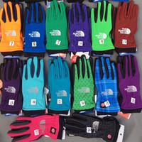 Wholesale Winter Gloves For Kids Wholesale - Unisex Screen Touch Glovers The North Winter Warm fleece gloves outdoor anti slip Face telefingers TNF Glovers for women men big kids