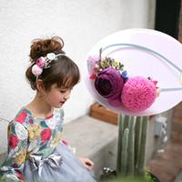 Wholesale Diy Hoops - Korean Girls Headband Flower Children Hair Sticks Party DIY Kids Hair Hoop Princess Hairband Halloween Accessories Flowers Girl A7169