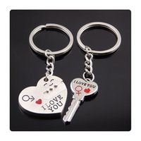Wholesale New Lock Heart Rings Alloy Keychain Cupid Arrow Couple Key Chain Lovers Pendant Key Ring Key Chain For Lovers