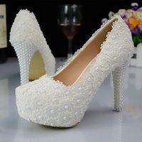 Wholesale 14cm heels white - 5 8 11 14CM Heel White Lace Beaded Cinderella Shoes Hand-made Prom Evening High Heels Beaded Rhinestones Bridal Bridesmaid Wedding Shoes 155