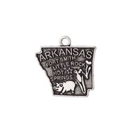 Wholesale cheap antiques usa for sale - New Design Cheap Antique Silver Plated Metal Arkansas USA State Map Charm Travelling Pendant Jewelry