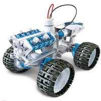 Wholesale Metal Kit Toys - Wholesale SUBOTECH DIY003 Brine Power Self-assembled 4WD Space Vehicle Crawler Car Salt Water Fueled DIY Self Assembled Cars Educational Toy