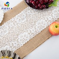 Wholesale Table Linens Skirt - NEW arrival Table Banner Natural Jute Table Runner Table Skirt With lace Christmas Party Wedding Decoration Technology