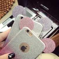 Wholesale Minnie Mouse Cases - Soft TPU Phone Case For iphone6 6plus 3D Mickey Minnie Mouse Ears Silicone Glitter Cute Candy Gradient Soft TPU Cartoon Cover iphone7 7plus