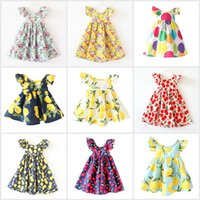 Wholesale Dress Baby Girl Flower Brand - INS Cherry Lemon Cotton Backless DRESS Girls Floral Beach Dress Cute Baby Summer Halter Kids Vintage Fruit Flower Bohemian Dress 12 Colors
