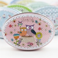 Wholesale Fairy Tale Tin Box Piece Cute Jewelry Storage Oval Tea Box Candy Pill Case Macaron Cookies Container Home Organizer