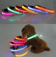 mistura de cores venda por atacado-LED Nylon Pet Dog Collar Noite Segurança LED Light Flashing Glow no escuro Pequeno Dog Pet Coleira Dog Collar Flashing Safety Collar cor mix