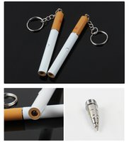 ingrosso torcia elettrica della sfera-200pcs forma di sigaretta 2 in 1 mini anello portachiavi portatile LED torcia elettrica con penna a sfera di scrittura Torch Light