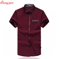 embroidered blouses cotton 2018 - Wholesale- Men Embroidered Cotton Dress Shirt Summer Brand Short Sleeve Plus Size 5XL 6XL 7XL Casual Slim Fit Social Shirt Blouse SL-S079