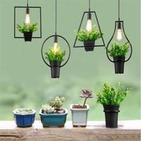 Wholesale E27 Pot Lights - Newest Vintage Industrial Plant pendant Lamp Iron Plant Creative Potted chandelier For Restaurant Bar Cafe Living Room