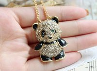 Wholesale Rhinestone Animal Panda Necklace - Pretty Enamel Rhinestone Panda Pendant Necklace Women Crystal Accessories Sweater Necklaces Jewelry Free Shipping