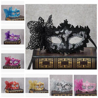 Wholesale Pink Lace Face Mask - Wholesale Costume Party Masks Women Venice Lace Butterfly Masquerade Mask Sexy Half Mask Wedding Halloween Christmas Party Masks