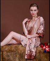 Wholesale Top Robes For Women - Wholesale- Top Sell Spring & Summer Kimono Satin Robes for Women Luxury Silk Bath Robe Sleepwear Set 2Pcs Nightgown Nightdress Plus Size 13