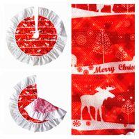 Wholesale Burgundy Decor - Christmas Tree Skirt Deer pattern Cloth New Year Christmas trees Decor Xmas Party Decoration Supplies Diameter 60cm