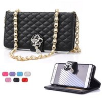Wholesale Chain Bag Iphone Case - Diamond Flower Wallet Case Credit Cards Holder with Shoulder Chain for iphone 7 6s 6 plus Samsung S7 S6 edge Note 5 SONY Z4 Opp Bag