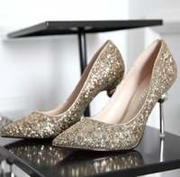 Wholesale Sequin High Shoe - 2017 Sparkly Sequins High Heels Wedding Shoes Champagne Red Silver Women's Pumps Pointed Toe Prom Party Shoes Cheap