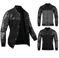 Wholesale Cool Leather Jackets For Men - Wholesale- Harajuku 2017 Spring Men Black Pu Leather Jacket Coat Slim Fit Casual Jackets Baseball Jacket Mens Designer Cool Jackets For M