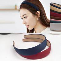 Wholesale Wide Hair Extensions - Woman headdress hair Colorful plaid (jewelry) head hoop bangs hair color wide headband simple Korean headdress hairpin G0178