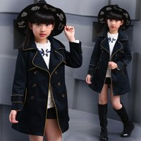 Wholesale Double Breasted Jackets For Kids - Children's jackets for girls trench coat spring & autumn kids clothes double-breasted princess girl outwear child outfits 5-12 Y