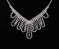 Wholesale Women Bridal Sets - Free Shipping New A Set of Women Fashion Bridal Rhinestone Crystal Drop Necklace Earring Plated Jewelry Set Wedding Cheap Free Shipping