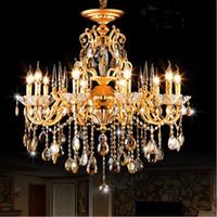 candelabros de bronce cristales al por mayor-Araña de cristal de Bohemia arañas de época tradicionales araña de bronce y latón Iluminación de velas de cristal de oro antiguo
