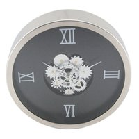 Wholesale Mechanical Wall Clock Gears - industrial style Minimalist design Glass wall clock gear clock high-grade wall decoration 14 inches round metal